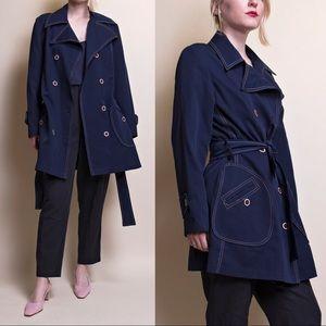 Vintage 70s blue utilitarian wrap trench coat